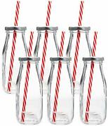 Dairy Reusable Glass Milk Bottles With Straws And Metal Screw On Lids 10.5 Oz