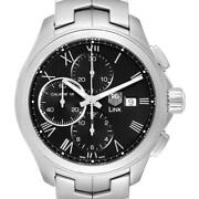 Tag Heuer Link Steel Black Dial Chronograph Mens Watch Cat2012 Box Card