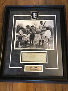 Ty Cobb Signed Check Green Ink Mounted And Framed Great Photo