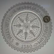 Vintage Christmas Snowflake Winter Mantel Art Glass Crystal Pairpoint Cup Plate