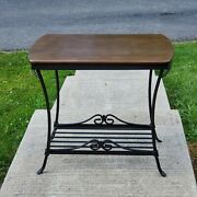 Longaberger Wrought Iron Library Table W/ Shelf Rich/warm Brown