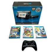 Nintendo Wii U 32gb Deluxe Set Console With Box And 4 Games Tested And Working