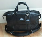 Ford Motor▪collectible▪blue Oval Logo▪black Leather Duffle▪large▪22 X 14▪mint