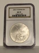 2005-p Marines S1 Ms70 Silver Commemorative Ngc