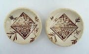 2 Aesthetic Ivory Staffordshire England Brown Transferware Butter Pat Plates