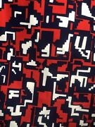 Vintage 60s 70s Mid Century Blue Red White Pattern Upholstery Fabric 3 Yards