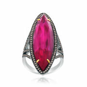 Heavy 21.01 Ct Red Ruby And Brown Diamond 18k Gold And Sterling Engagement Ring 7