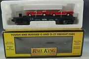 Rail King Mth Auto Transport With 2 Ertl 64 Mustang 30-7617 Die Cast O Gauge Mib