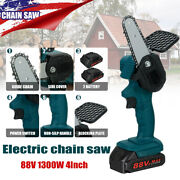 1300w 88v Mini Cordless Electric Chain Saw Wood Cutter One-hand Tool W/2 Battery