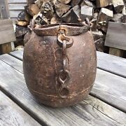 Antique Medieval Hand Forged Cast Wrought Iron Cauldron Cooking Pot Bucket Chain