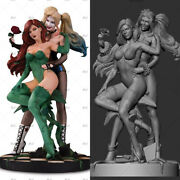 Harley Quinnandpoison Ivy Dc 3d Unpainted Figure Model Gk Blank Kit New Toy Stock