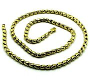 18k Yellow Gold Chain 4mm Tube Rounded Drop Link 50cm 20 Made In Italy