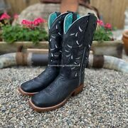 Corral Women's Black Ostrich Inlay And Embroidery Square Toe Western Boots A4058