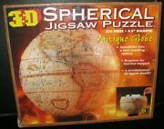 3d Spherical Jigsaw Puzzle Antique Globe 530 Pieces Assembles Free Standing New