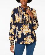 Charter Club Womenand039s Printed Band Collar Blouse Intrepid Blue Combo Size 2xl