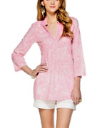 Lily Pulitzer Tunic White Pink On Pink Embroidery Sarasota New Size M