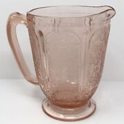 Vtg 1930s Jeannette Glass Co Cherry Blossom Pink Water Pitcher Depression Ware