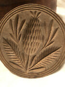 Antique 4.25 Early Wood Deep Carved Thistle Cookie Butter Mold Folk Art Aafa