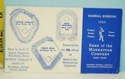 1953 Brooklyn Dodgers, Ny Yankees And Giants Schedule Bank Of The Manhattan