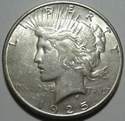 = 1925-s Au+ Peace Dollar Nice Luster And Details Free Shipping