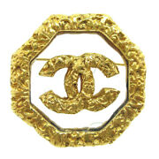 Cc Logos Brooch Pin Corsage Gold-tone Clear 93a Authentic 81181