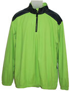 Sperry Top Sider Mens Pullover Jacket Large Green Blue Accents 1/4 Zip
