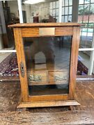Antique Vintage English Oak Pipe Tobacco Cabinet Humidor W Pipe Rack And 2 Drawers