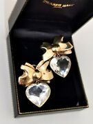 Big Chunky Sterling Silver 18ct Gold Stamped Cz Heart Bow Dangle Earrings 23g