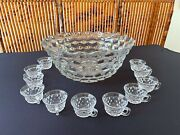 Vtg Fostoria American Pattern Clear Glass Large 17.5andrdquo Punch Bowl And 12 Cups Set