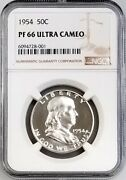 1954 Proof Franklin Half Dollar Certified Pf 66 Ultra Cameo By Ngc