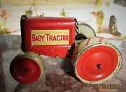 Rare Antique Tin Litho Friction Toy Baby Tractor By Animate Toy Co