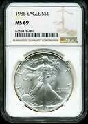 1986 1 Silver American Eagle Ms69 Ngc 6258478-xxx First Year Of Issue