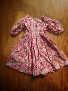 Wonderful Mid 1800and039s Antique Doll Dress Red Floral Calico