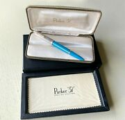 Parker 51 Special Edition 2002 Turquoise Fountain Pen W/case And Papers, Nos 7wgp