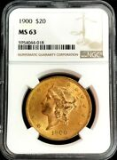 1900 Gold United States 20 Liberty Head Double Eagle Coin Ngc Mint State 63