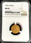 1925 D Gold Us 2.5 Dollar Indian Head Quarter Eagle Coin Ngc Mint State 63