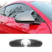 Gray Horns Rear View Side Door Mirror Cover 2pcs For Ford Mustang 2015-2021