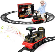 Ride On Train With Track Electric Ride On Toy W/ Lights And Sounds Storage