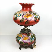 Antique Gone With The Wind Style Hurricane Parlor Lamp 3-piece Red Pink 24 H