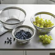 Pampered Chef Stainless Steel Mesh Colander Set Of 3 Strainers 2797 New In Box