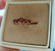 Beautiful 10k Ruby Ring 5 Heart Shaped Rubies Size 7 Hsn Prom Anniversary Rare