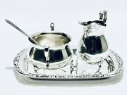 Marvelous Vintage International Coffee Creamer And Sugar Caddy Set Silver Plated