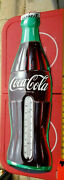 Vintage Large Coca Cola Embossed Bottle Thermometer Sign