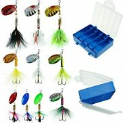 Fishing Lures 10pcs Spinner Lures Baits With Tackle Box Bass Trout Salmon