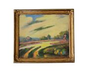 Antique Early American Modern Landscape Oil Painting Signed Mystery California