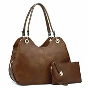 Classic 3 Zippered Compartments Women Hobo Purses And Handbags A-brown
