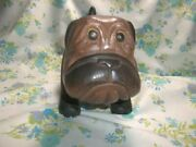 Solid Wood Hand Carved Boxer Dog Puppy