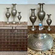 """Set Of 3 Antique Persian Islamic Middle Eastern Silver Ornate Vases 24"""" 19"""" 14"""""""