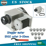 Cnc Router Lathe 4th Rotary Axis Hollow Shaft Stepper Motor Kit W/ Er32 Collet