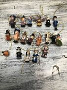 Vintage Miniature Wooden Christmas Ornaments Hand Painted Lot Of 19
